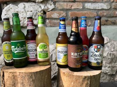 Piwo Carlsberg, Zatecky 0%, Okocim Radler, Karmi, Somersby, Chmielowy Kwartet, Lager Brzeski, Dunkel