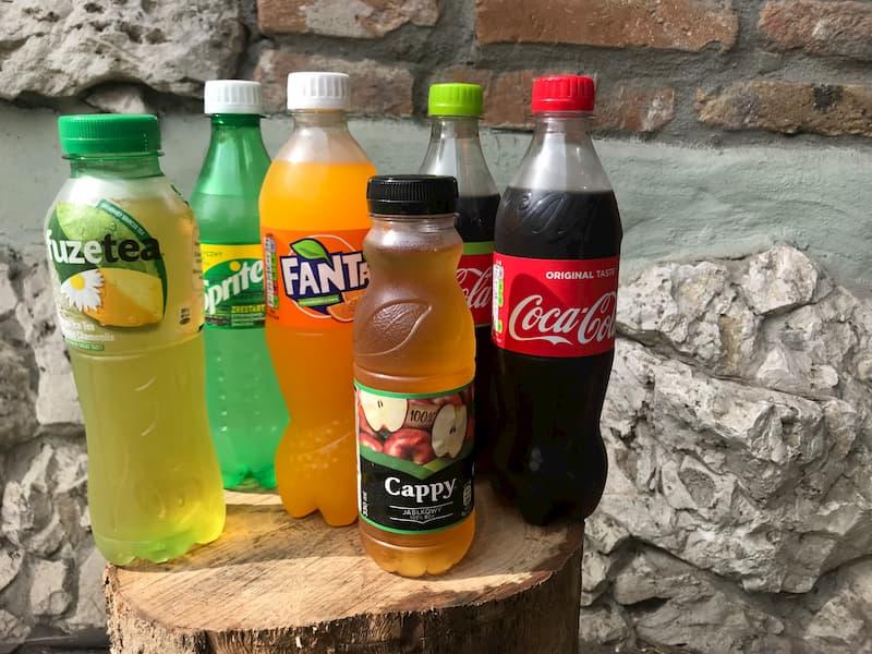 Coca-cola, Coca-cola Zero, Coca-cola Lime, Fanta, Sprite, FuzeTea, soki Cappy